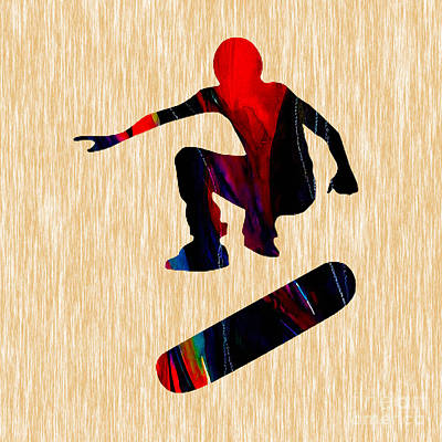 Skateboarder Painting Print by Marvin Blaine