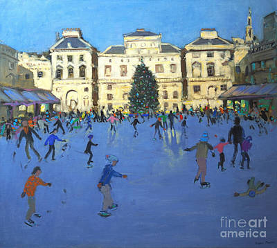 Winter Fun Painting - Skaters  Somerset House by Andrew Macara
