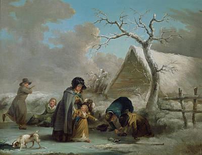 Skating Painting - Skating, 1792 by George Morland