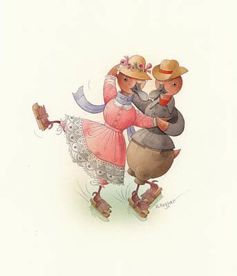 Skating Ducks 11 Original by Kestutis Kasparavicius