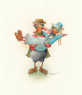 Skating Ducks 13 Original by Kestutis Kasparavicius