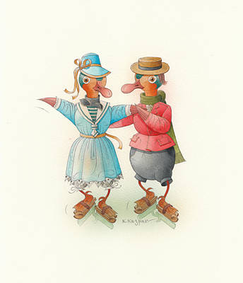 Skating Ducks 14 Original by Kestutis Kasparavicius