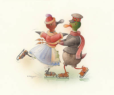 Skating Ducks 9 Original by Kestutis Kasparavicius