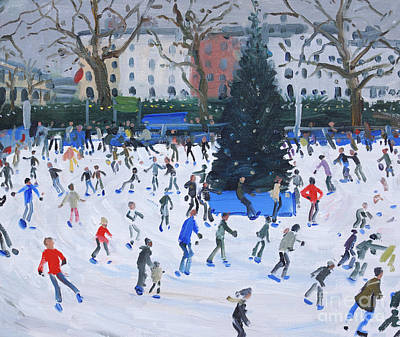 Snowy Trees Painting - Skating  Natural History Museum by Andrew Macara