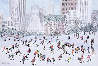 Snow . Bridge Painting - Skating Rink Central Park New York by Judy Joel