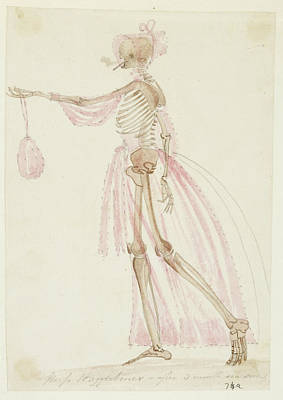 Skeleton In Pink Dress Print by British Library