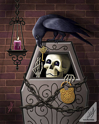 Dungeon Painting - Skeleton Key by Annie Dunn
