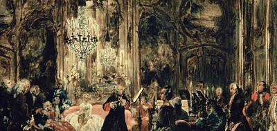 Music Recital Painting - Sketch For The Flute Concert by Adolph Friedrich Erdmann von Menzel