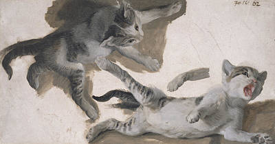 Playing Drawing - Sketches Of A Kitten by Alexandre-Francois Desportes