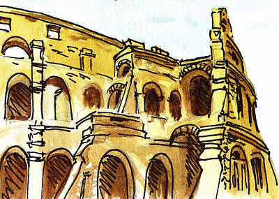 Cathedral Rock Painting - Sketching Italy Rome Colosseum Ruins by Irina Sztukowski
