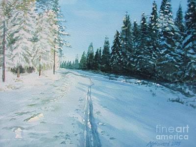 Ski Painting - Ski Tracks by Martin Howard