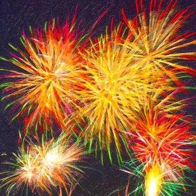 Fire Works Digital Art - Skies Aglow With Fireworks by Mark E Tisdale