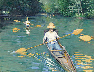 Rowing Painting - Skiffs by Gustave Caillebotte