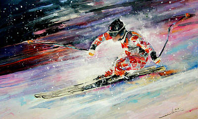 Art Miki Painting - Skiing 01 by Miki De Goodaboom