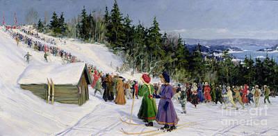 Skiing Competition In Fjelkenbakken Print by Gustav Wentzel