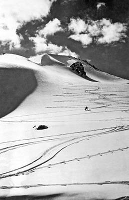 Skiing In The Canadian Rockies Print by Underwood Archives