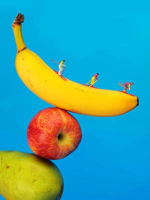 Mango Digital Art - Skiing On Banana Miniature Art by Paul Ge
