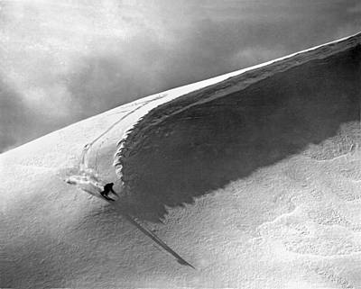 Skiing Under A Curl Print by Underwood Archives