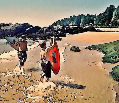 Skim Boarders Print by Stanley  Funk