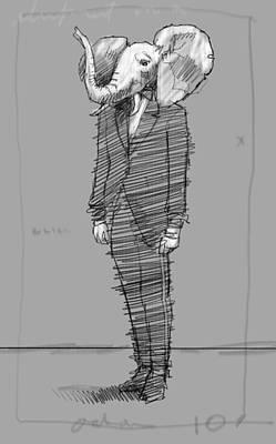 Skinny Suit Print by H James Hoff