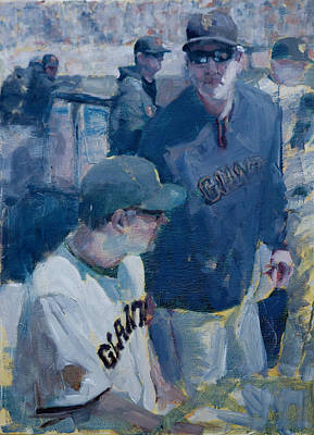Baseball Art Painting - Skipper At The Helm by Darren Kerr