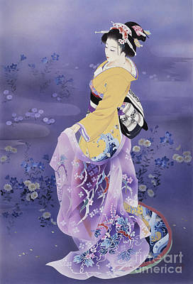 Chrysanthemum Digital Art - Skiyu Purple Robe by Haruyo Morita