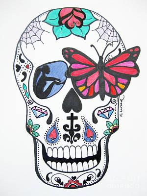 Sugar Skull Girl Drawing - Skull Candy Original by Karen Larter