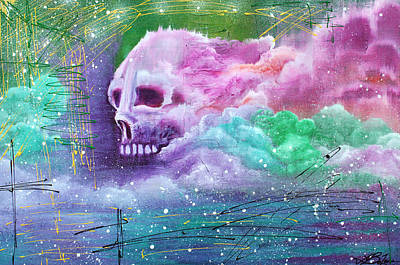 Skull Painting - Skull Cloud by Laura Barbosa