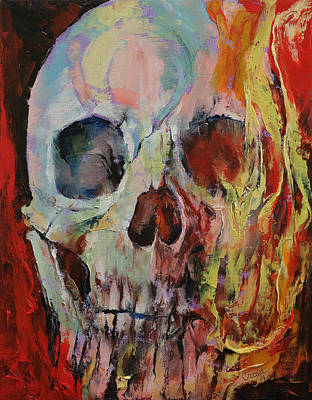 Skull Fire Print by Michael Creese