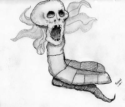 Skull Drawing - Skull Snake by Dan Twyman