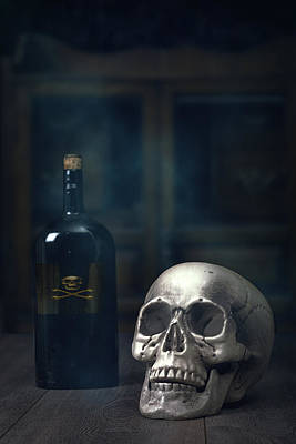 Skull Photograph - Skull With Poison Bottle by Amanda And Christopher Elwell