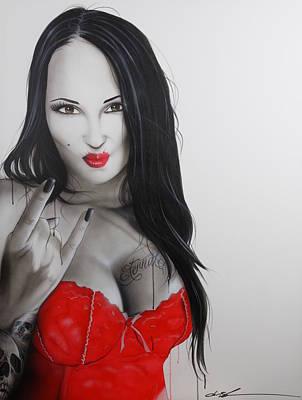 Heavy Woman Painting - Portrait - ' Skulls For Eternity ' by Christian Chapman Art