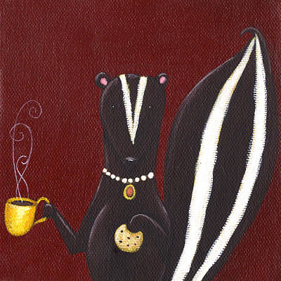 Cafes Painting - Skunk With Coffee by Christy Beckwith