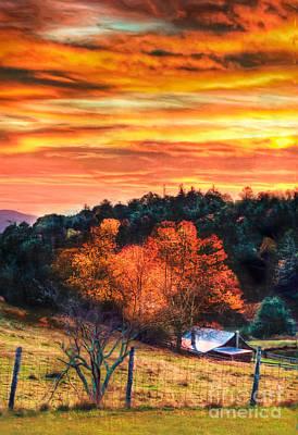 Sky Ablaze - Blue Ridge Sunrise II Print by Dan Carmichael