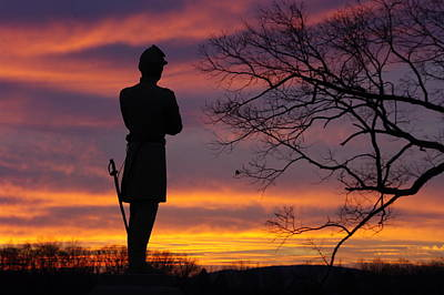 Sky Fire - 124th Ny Infantry Orange Blossoms-1a Sickles Ave Devils Den Sunset Autumn Gettysburg Print by Michael Mazaika