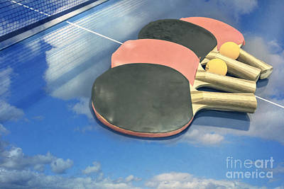 Sky Ping-pong Clouds Table Tennis Paddles Rackets Print by Beverly Claire Kaiya