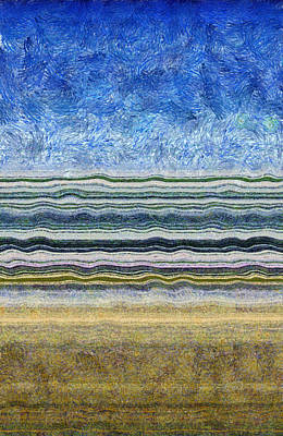 Abstract Seascape Drawing - Sky Water Earth 2 by Michelle Calkins