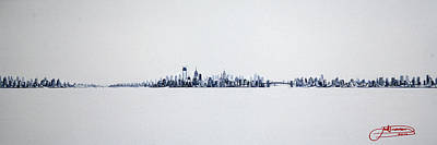 New York City Skyline Painting - Skyline 10x30-2 by Jack Diamond