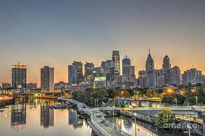 Skyline At Dawn Print by Mark Ayzenberg