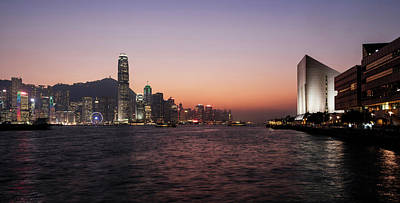 Skyline At Waterfront During Dusk Print by Panoramic Images