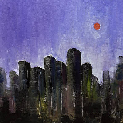 Skyline Cityscape Expressionist Original Painting On Canvas Original by Gray  Artus