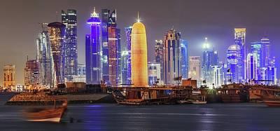 Qatar Photograph - Skyline In Doha by Babak Tafreshi