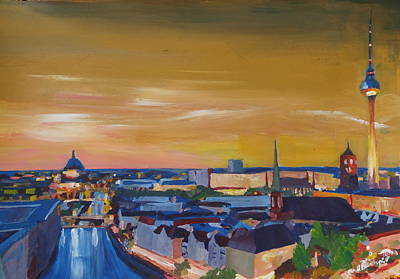 Skyline Of Berlin At Sunset Print by M Bleichner