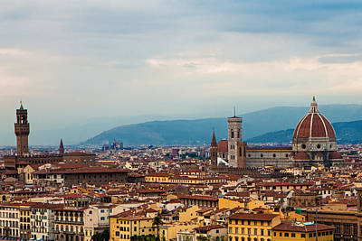 Skyline View Of Florence Italy Print by Susan Schmitz