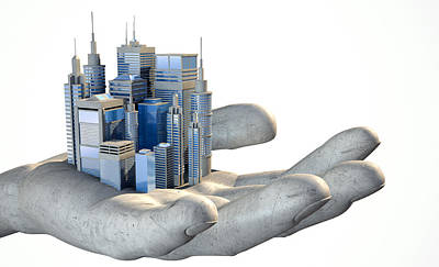 Skyscraper City In The Palm Of A Hand Print by Allan Swart