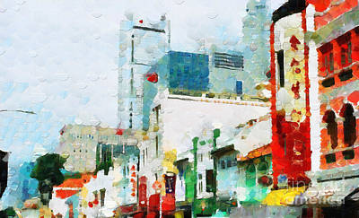 Local Attraction Painting - Skyscrapers Behind Old Buildings In Singapore Painting by George Fedin and Magomed Magomedagaev