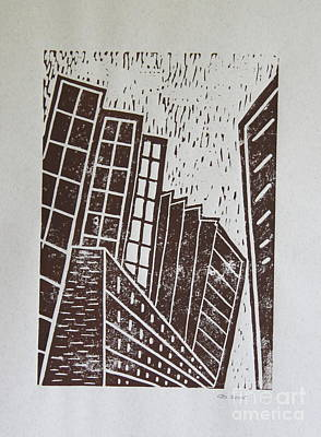 Lino-cut Painting - Skyscrapers - Block Print by Christiane Schulze Art And Photography