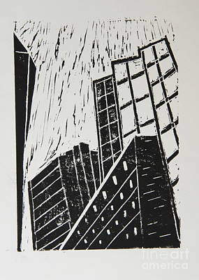 Lino-cut Mixed Media - Skyscrapers II - Block Print by Christiane Schulze Art And Photography