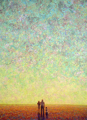 Abstract Dog Painting - Skywatching In A Painting by James W Johnson