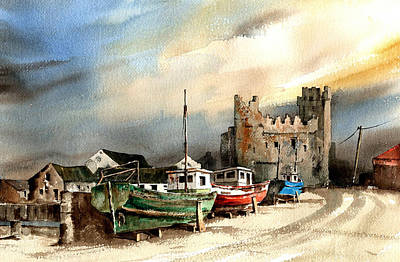 Tour Ireland Painting - Wexford  Slade Castle by Val Byrne